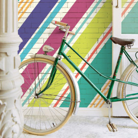 PAPIER PEINT STRIPES + DIAGOGO BRICKS SUMMER DE EIJFFINGER