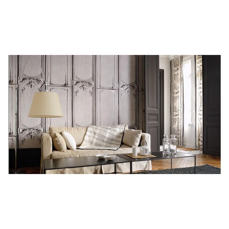 papier peint la belle et la bete gris beige elitis atelier du passage. Black Bedroom Furniture Sets. Home Design Ideas