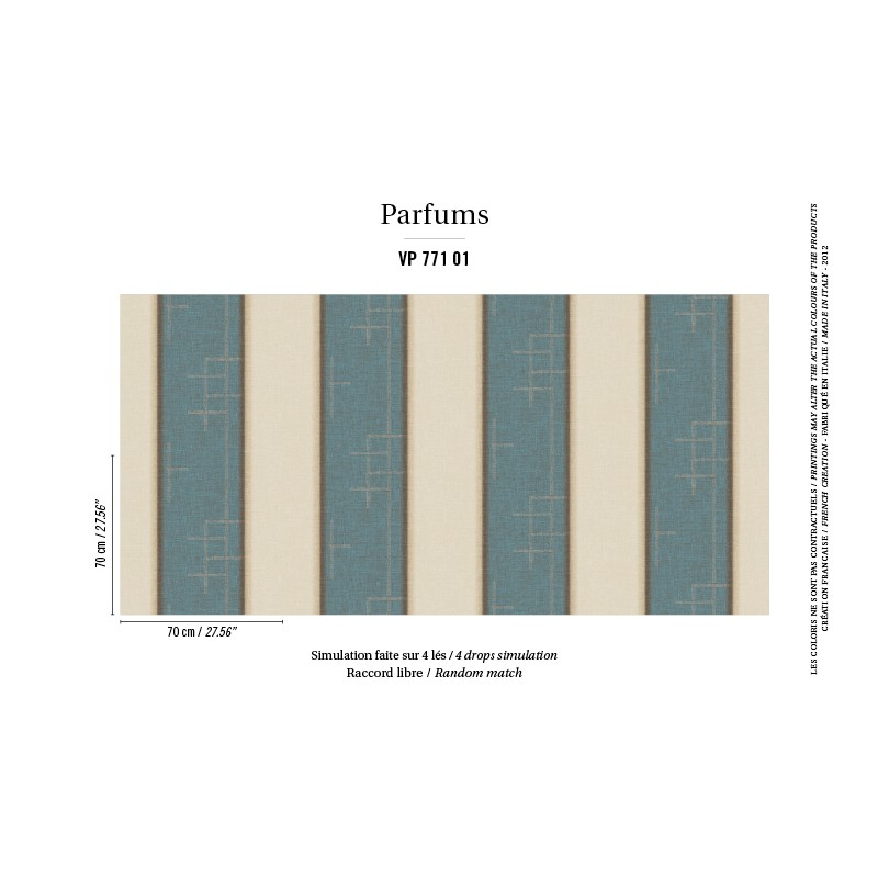 papier peint musc bleu elitis atelier du passage. Black Bedroom Furniture Sets. Home Design Ideas