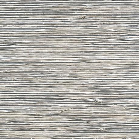 Papier Peint ECLAT Abaca Blanc gris ELITIS