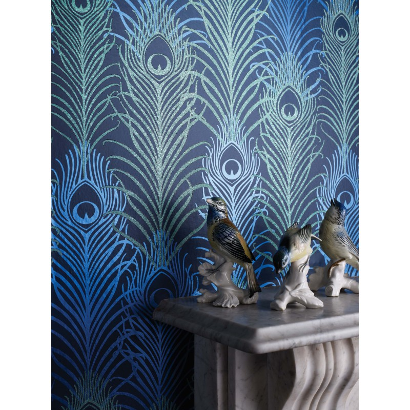papier peint peacock bleu nuit matthew williamson atelier du passage. Black Bedroom Furniture Sets. Home Design Ideas