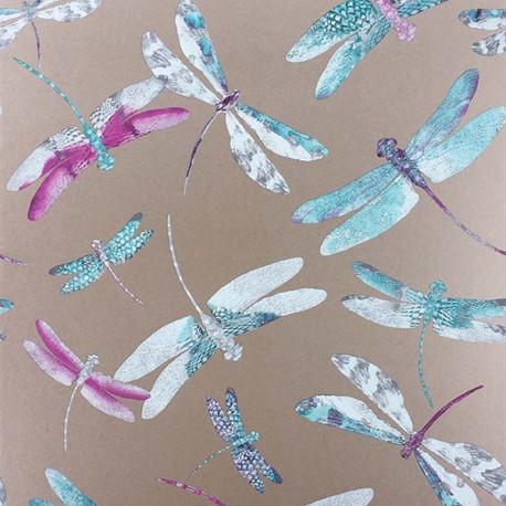 Papier Peint DRAGONFLY DANCE Fuschia / Jade