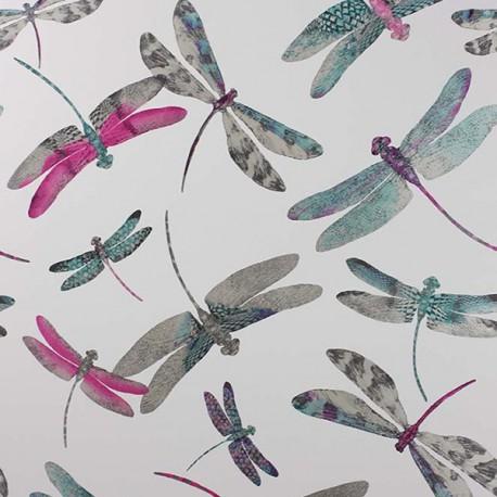 Papier Peint DRAGONFLY DANCE Fuschia / Jade / Silver