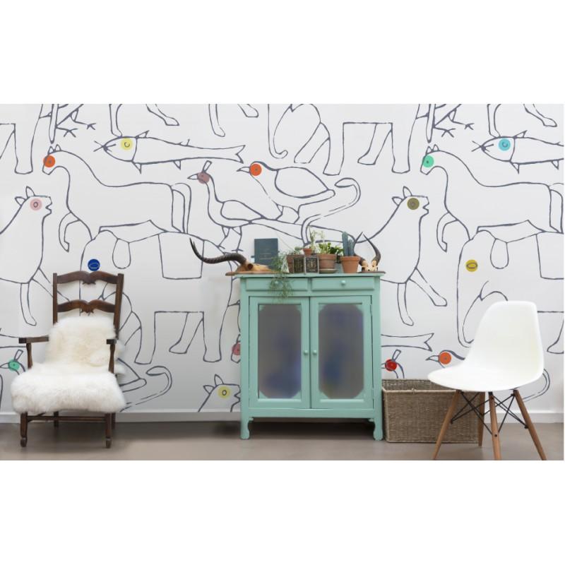 papier peint animals regular bien fait atelier du passage. Black Bedroom Furniture Sets. Home Design Ideas