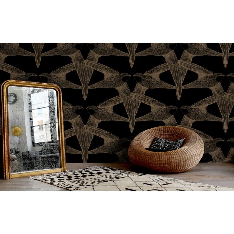 papier peint black birds bien fait atelier du passage. Black Bedroom Furniture Sets. Home Design Ideas