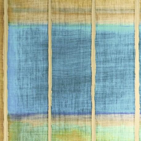 Papier peint Nomades Tangka bleu - orange de Elitis
